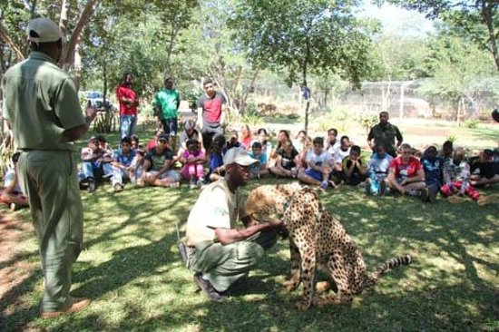 suzie with baobab college having a conservation education lesson
