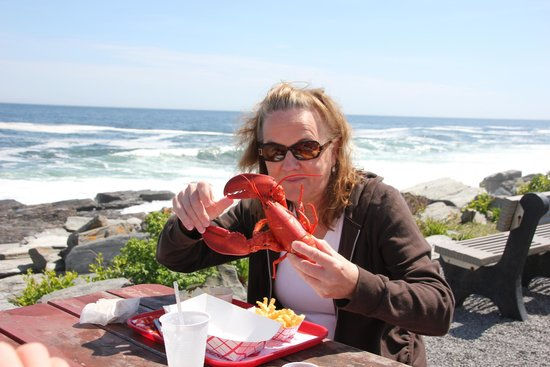 The Lobster Shack at Two Lights: Mom ready to eat her lobster.