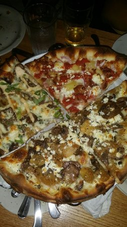 Pies & Pints Pizzeria: Mushroom garlic garlic, Chipotle chicken, pineapple, thai, steak and mushroom pies. Leftovers wi