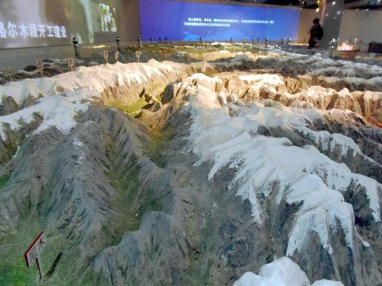 China Railway Museum Zhengyangmen: dramatic animations is projected onto this model