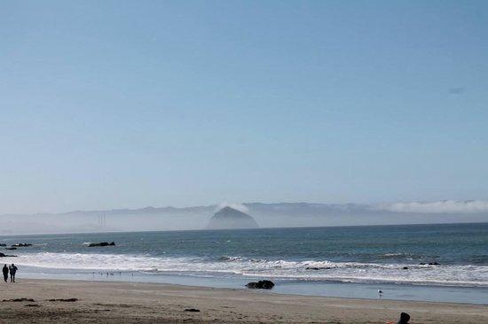 Cayucos Shoreline Inn...on the beach: Fog around Morro Rock