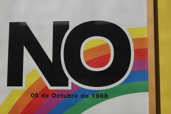 "Hostal Providencia: ""NO"" campaign board decorating the hostel"