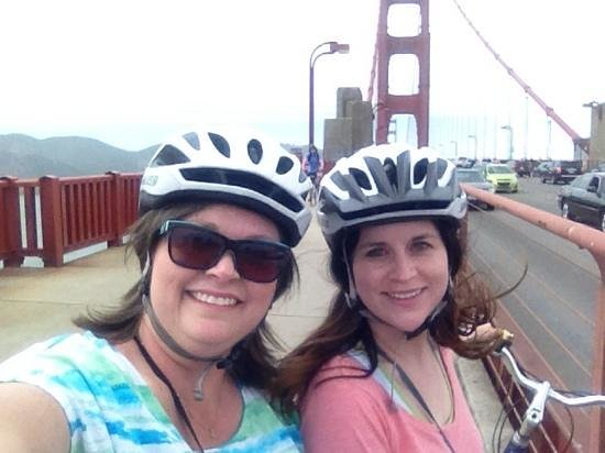 Bay City Bike Rentals and Tours: mom and britt biking to sausalito