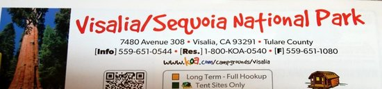 Visalia / Sequoia National Park KOA: not that close to Sequoia