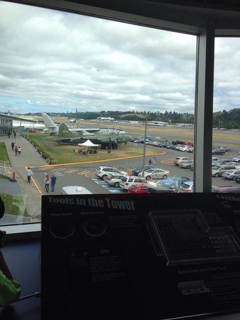 The Museum of Flight: Set up of a control tower and actually viewing the airport! Kids were having a blast pretending