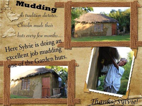 Chrislin African Lodge : Mudding the mud huts