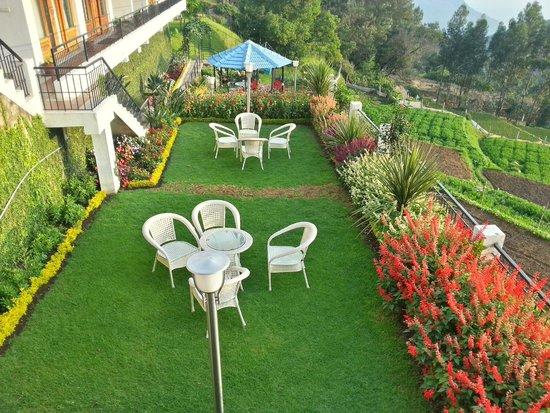 Mount 'n' Mist: Garden in frot of the hotel