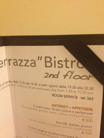 I Portici Hotel : Меню и часы работы