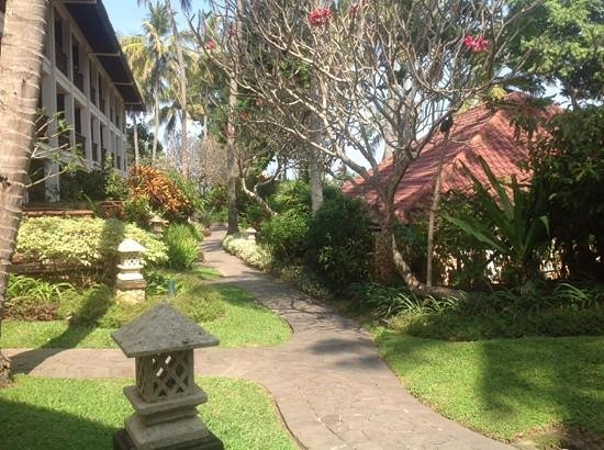 Sheraton Senggigi Beach Resort: View from pool terrace patio towards ocean.