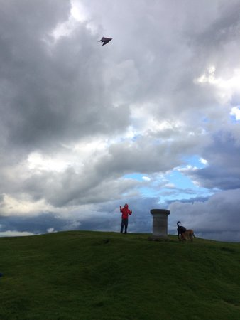 Falkland, UK: Stunt kite at the top of east. Windy