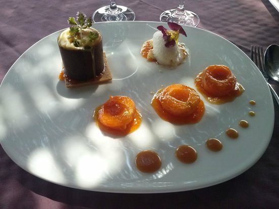 Le Pré Gourmand : Oreillons d'abricots rôtis à la cassonade,  Crème brûlée à la marjolaine, sablé breton à la fle