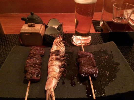 Yakitori Totto : chicken heart & prawn & skirt steak(?)