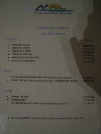 Namuka Bay Lagoon Resort: Menu