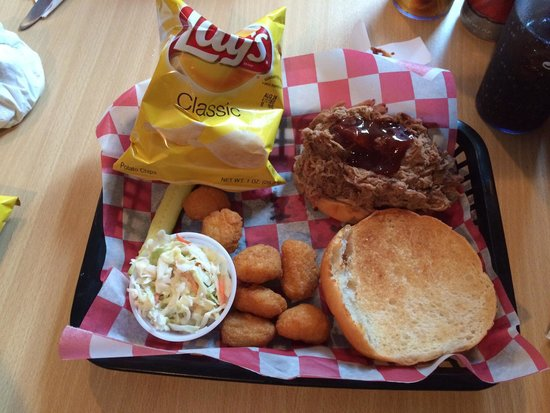 Casey's BBQ and Smokehouse: Smoked pulled pork sandwich with my $3. corn nuggets