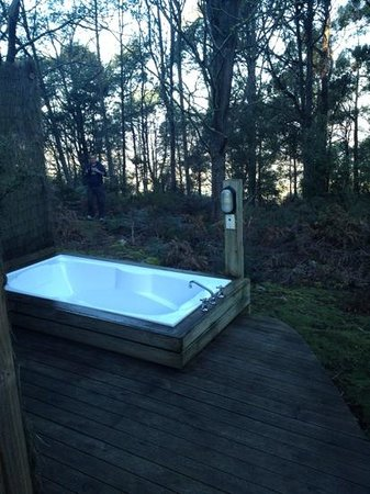 Huon Bush Retreats: outdoor bath.