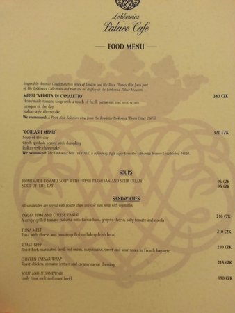 Lobkowicz Palace Cafe: The menu - Around £10 for a three course set lunch
