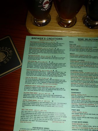 Deschutes Brewery: Beer menu