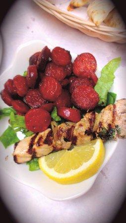 Dimitri's: Chorizo and chicken kebabs yum!