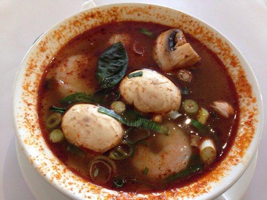 Indochina Thai Restaurant: Tom Yum soup with prawns.