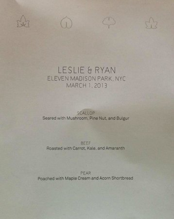 Eleven Madison Park : Wedding Menu