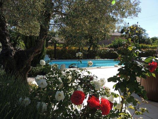 Carnas, France : La piscine et le jardin