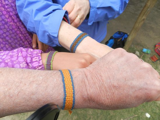 Patacancha  Valley: We learned to weave our own pretty bracelets!