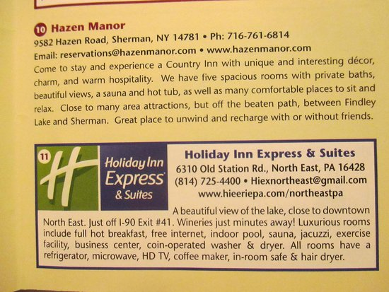 Holiday Inn Express & Suites North East: hotel information printed on Lake Erie Wine Country brochure.