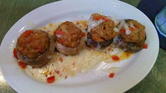 BON TEMPS GRILL: Crawfish Stuffed Mushrooms $8.50 Pan seared mushrooms stuffed with Louisiana crawfish served wit