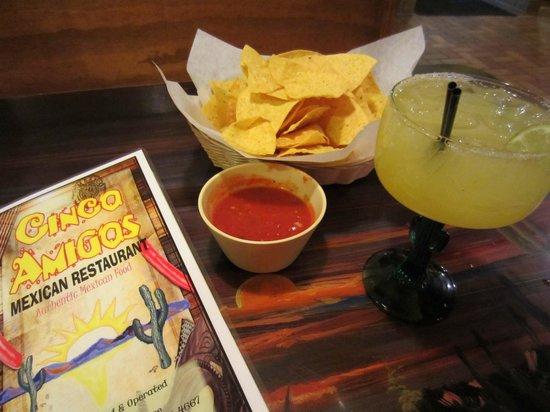 Cinco Amigos: Chips Salsa and Margarita