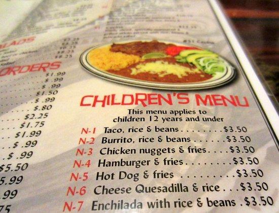 Cinco Amigos: Great kids Menu and Cheap