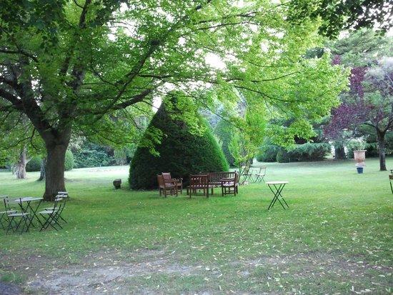 Manoir de la Roseraie : Parc vu de la table en terrasse