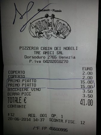 Al Casin dei Nobili: Restaurant bill