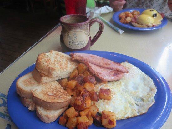 "Over Easy Café: ""Ho hum breakfast"" Not so ho hum and Rueben Benedict in back"