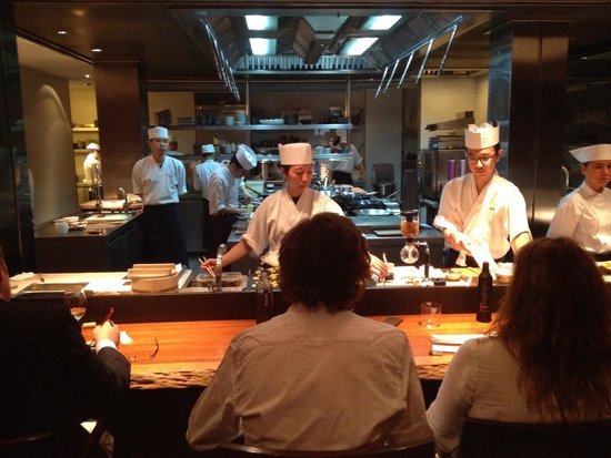 Koy Shunka: View on the kitchen from second row. If you book a table, request to be seated at first raw. ;)