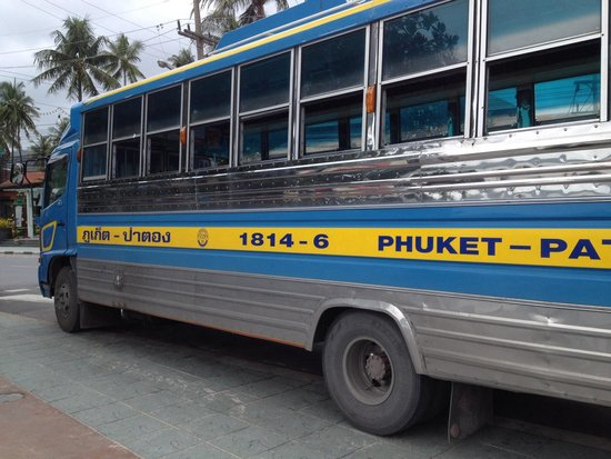 Coconut Village Resort: Bus to Phuket town (30baht) along the beach