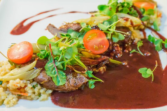 Von Krahli Aed: Lamb with pearl barley salad, roasted fennel, cauliflower and blackberry sauce
