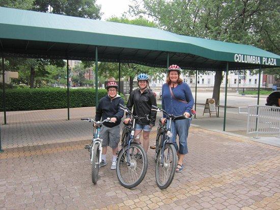 Capital City Bike Tours: Off we go!  Comfortable bikes and helmets