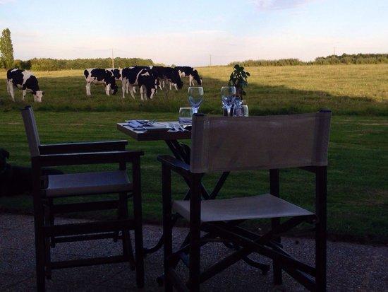 Le Fleuray : Cena con veduta della campagna !