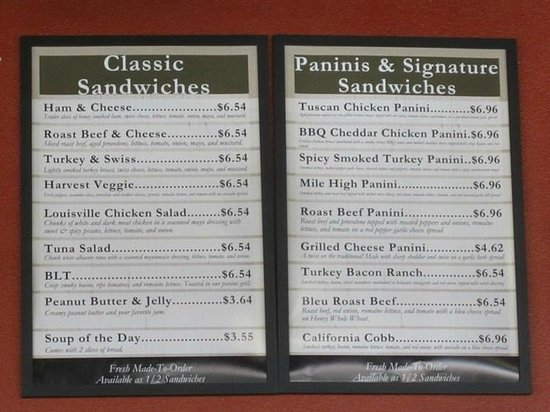 Great Harvest Bread Company: The menu - lots of sandwiches to choose from