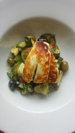 Made by Jonty: Courgette.  Cucumber. Olive & halloumi salad.