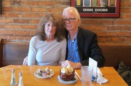 Nana's Irish Pub: desert course at table w/ 50th anniversary couple