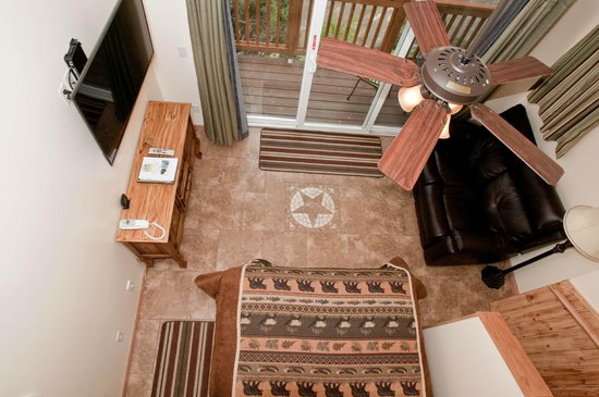 Riverside Cottages: View of Park Suite from the upstairs loft