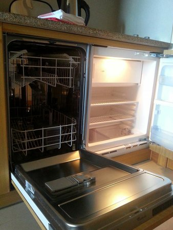 Dishwasher and fridge in studio apartment - Picture of ...
