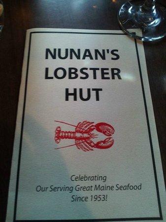 Nunan's Lobster Hut: Nunan's menu