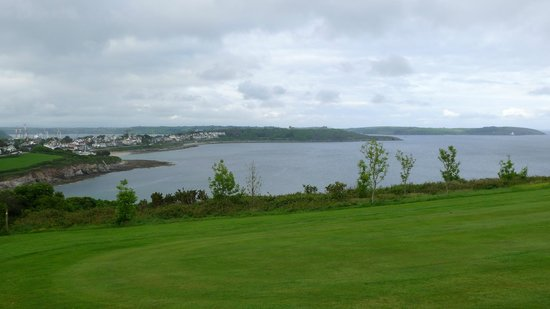 Swanpool Beach: A view of Swanpool Bay and beyond from the footpath going to the golf course