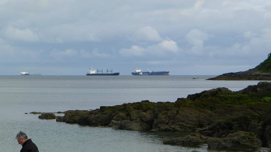 Tankers just off Swanpool Beach