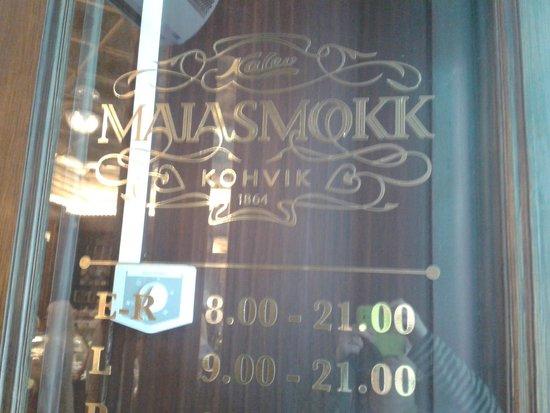 Maiasmokk Cafe: Rótulo entrada