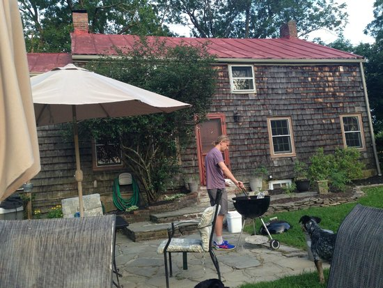 Audrey's Farmhouse Bed & Breakfast: Grilling our Dinner