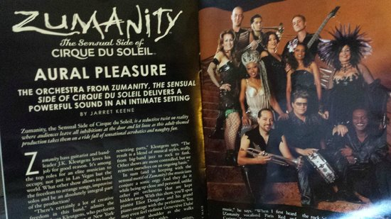Zumanity - Cirque du Soleil : Article/Pic of the Zumanity Band in a Cirque program.