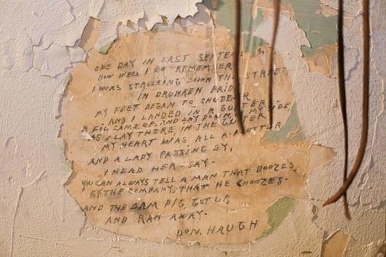The Old Jail: a note etched into a cell
